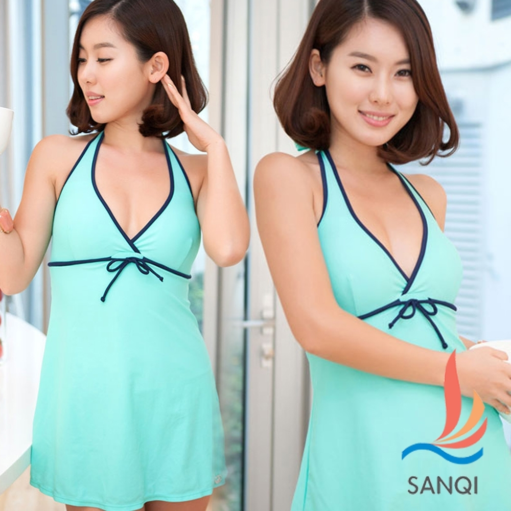 SANQI三奇 完美渡假 一件式連身式泳裝 泳衣(綠L.XL)