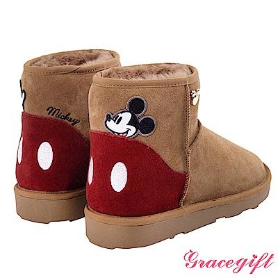 Disney collection by grace gift-拼接造型設計雪靴 棕