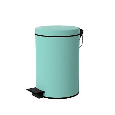 TRENY 加厚 緩降 不鏽鋼垃圾桶 8L (湖水藍)