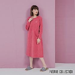 YVONNE胸前貓頭鷹圖案搖粒布長袖洋裝-杏桃粉