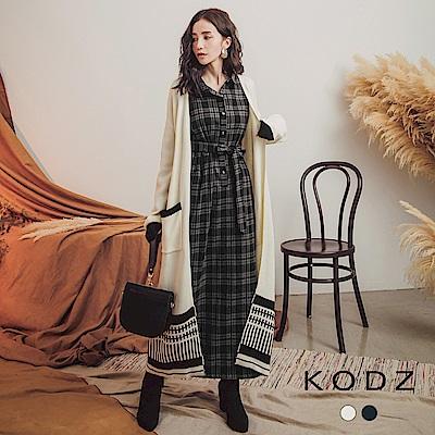 東京著衣-KODZ 有型LOOK配色雙口袋長版針織外套-S.M.L(共二色)