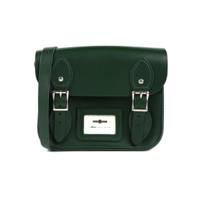 The Leather Satchel 英國手工牛皮劍橋包 肩背包 郵差綠 8.5吋