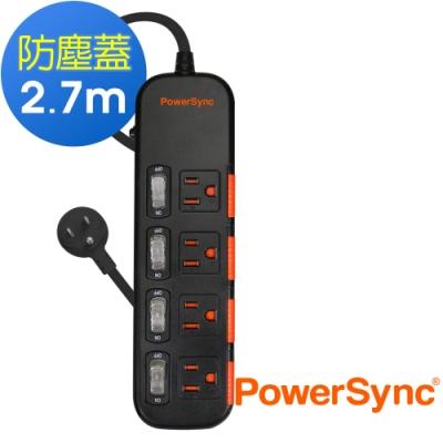 PowerSync 群加 3孔4開4插 滑蓋防塵防雷擊延長線/2.7米(TS4X0027)