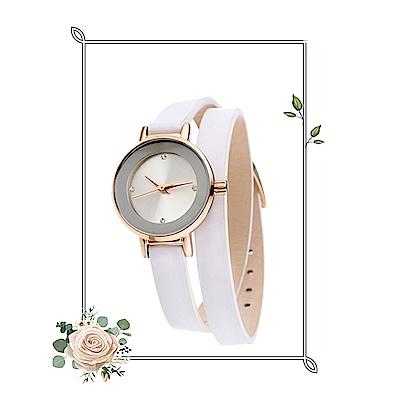 MANGO 俏麗佳人小錶面晶鑽雙圈錶帶腕錶-白/24mm