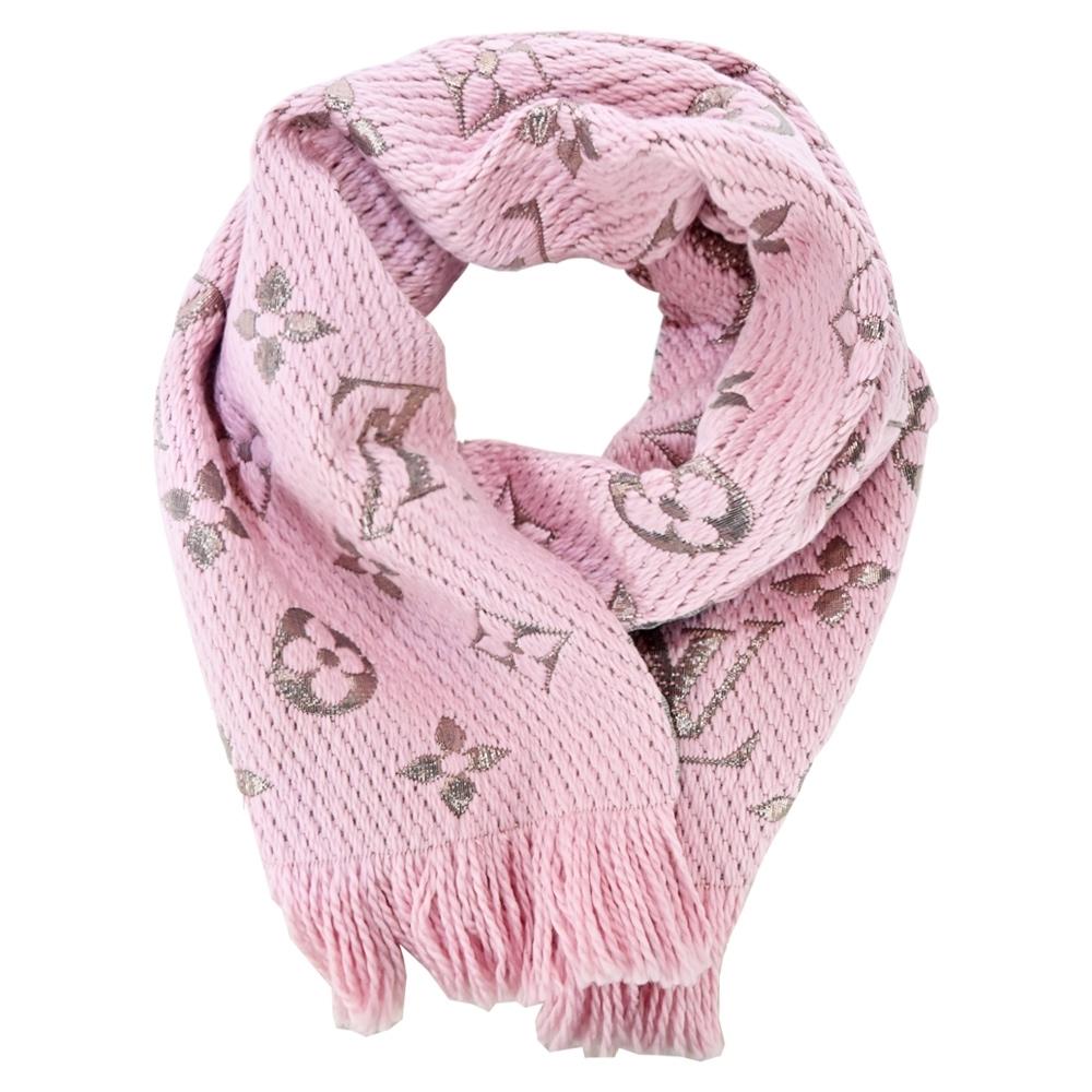 Louis Vuitton Logomania Shine 羊毛金屬絲線花卉裝飾圍巾(芭蕾粉)