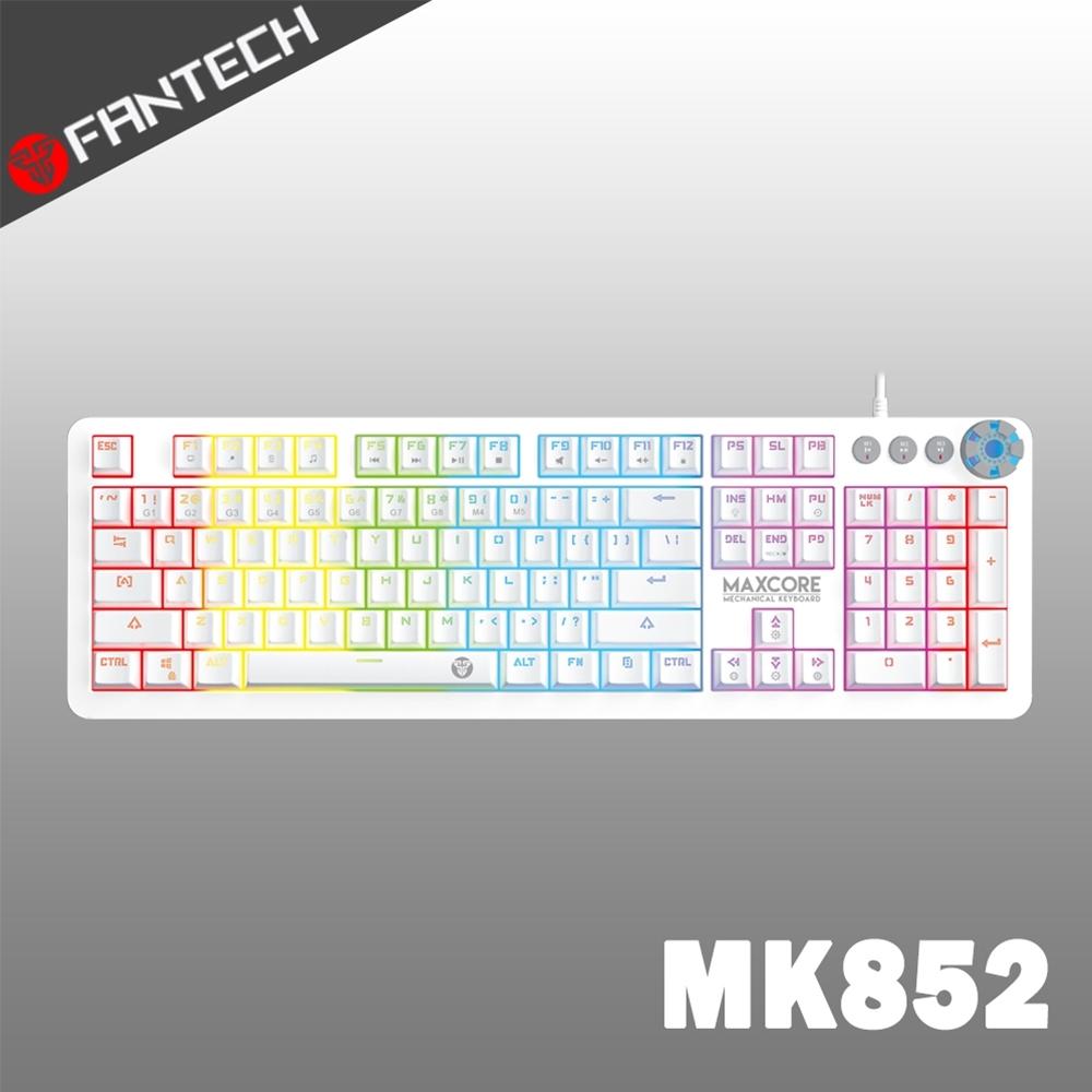 FANTECH MK852 RGB多媒體機械式電競鍵盤(白)