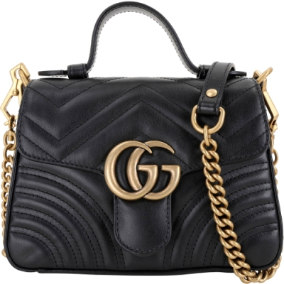 GUCCI GG Marmont 迷你款 山形絎縫皮革鍊帶手提包(黑色)