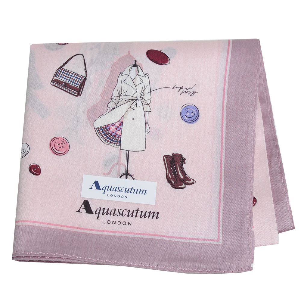 Aquascutum 品牌經典設計商品圖騰字母LOGO帕領巾(粉紅) @ Y!購物