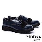 低跟鞋 MODA Luxury  英式暖意兔毛綁帶厚底牛津低跟鞋- 藍