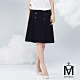 MYVEGA麥雪爾 MA高含棉立挺打褶雙排釦A字短裙-黑 product thumbnail 1