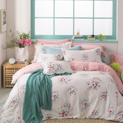 OLIVIA  Kathleen 粉 加大雙人床包兩用被套四件組 棉天絲系列 台灣製