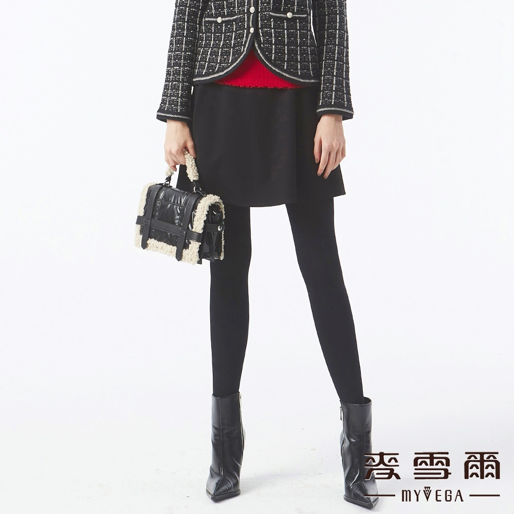 MYVEGA麥雪爾 蝴蝶結緞帶造型褲裙-黑