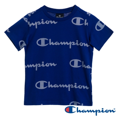 Champion EU童滿版Logo短版Tee 藍色