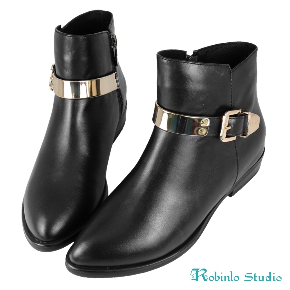 Robinlo 全真皮拼接毛料後拉鍊短靴 黑色