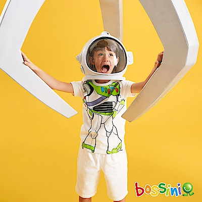 bossini男童-玩具總動員印花T恤-巴斯光年03灰白