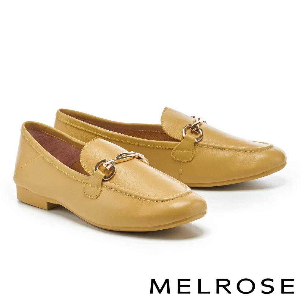 低跟鞋 MELROSE 簡約質感金屬飾釦牛皮樂福低跟鞋-黃