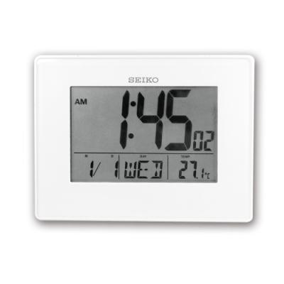 SEIKO 精工 / 多功能 摺疊式 日期 溫度 智能感光 貪睡鬧鈴 座鍾 掛鐘 電子鐘-白色