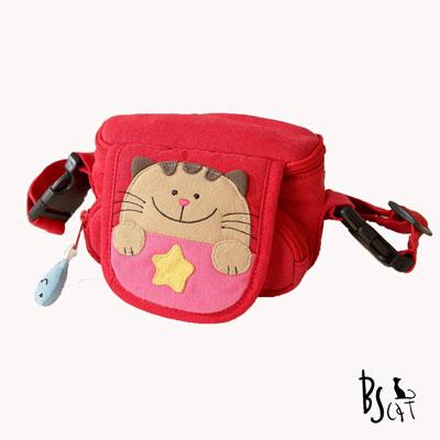 ABS貝斯貓 可愛貓咪手工拼布小型側背包(活力紅)88-046