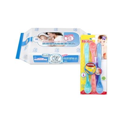 貝恩Baan NEW嬰兒保養柔濕巾20抽60入/箱+Nuby 易握型感溫湯匙(3入)/顏色隨機出貨*1