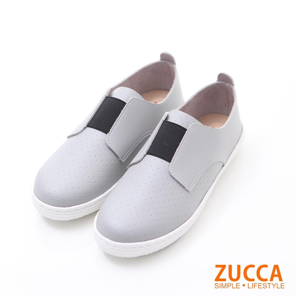 ZUCCA-軟質皮革平底懶人鞋-灰-z6214gy