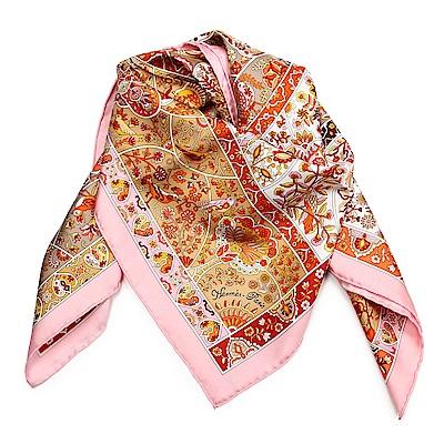 HERMES Pays Des Oiseaux Fleurs 真絲披肩方型絲巾-粉色