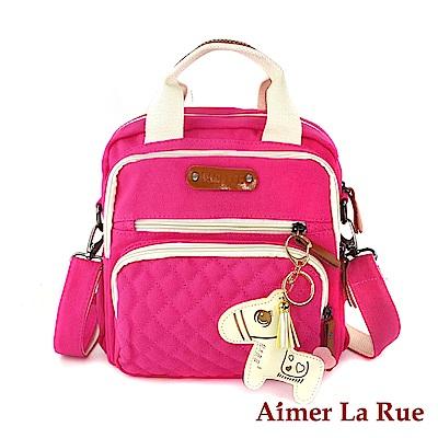 Aimer La Rue 甜美小馬手提二用後背包-桃紅色(快)
