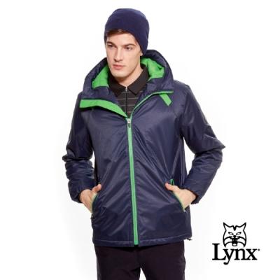 【Lynx Golf】男款防風鋪棉Lynx車標連帽長袖外套-深藍色