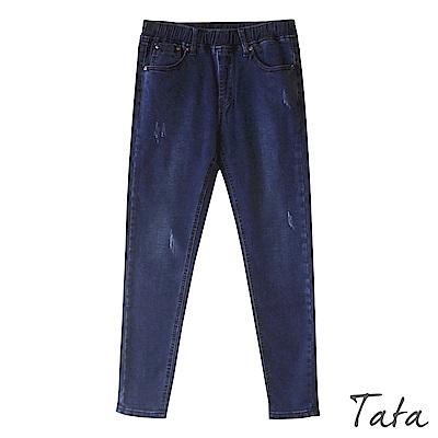 鬆緊腰刷色破壞刷絨牛仔褲 共二色 TATA