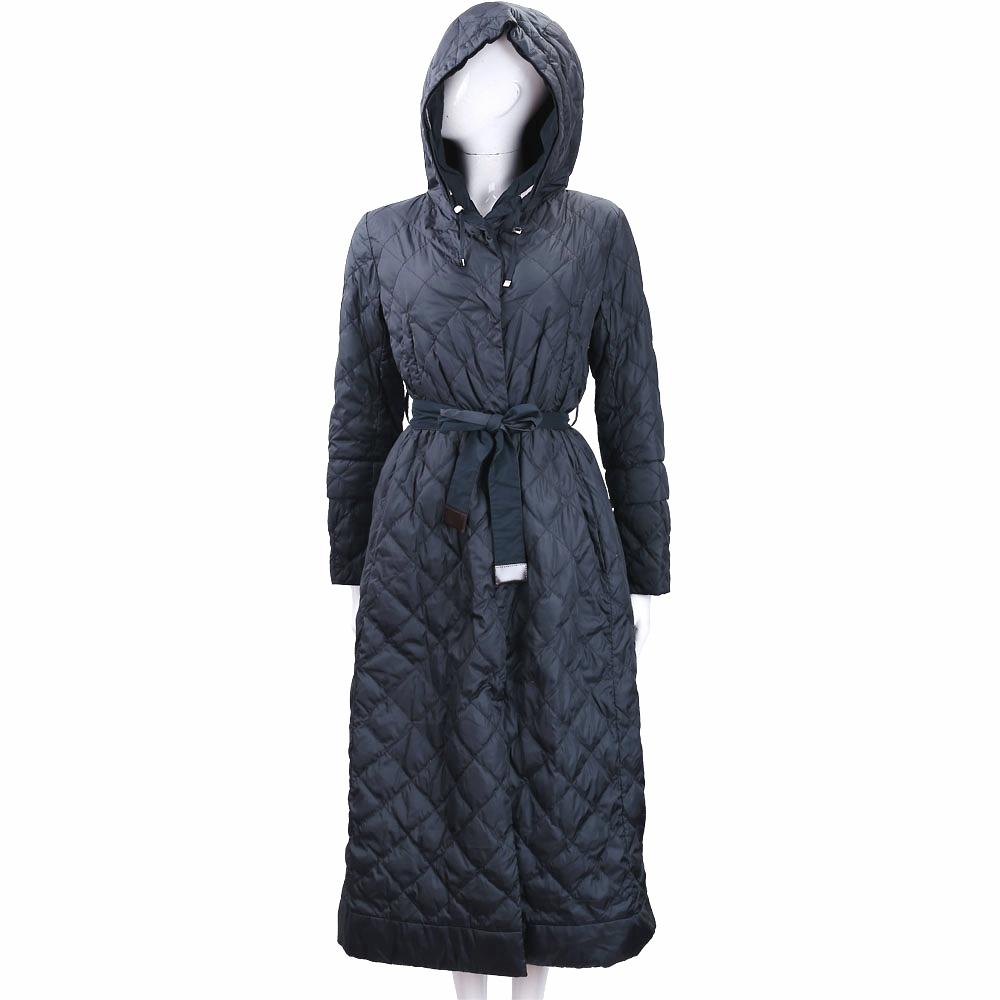 Max Mara-'S Max Mara 絎縫雙面兩穿深藍色落地連帽防風大衣
