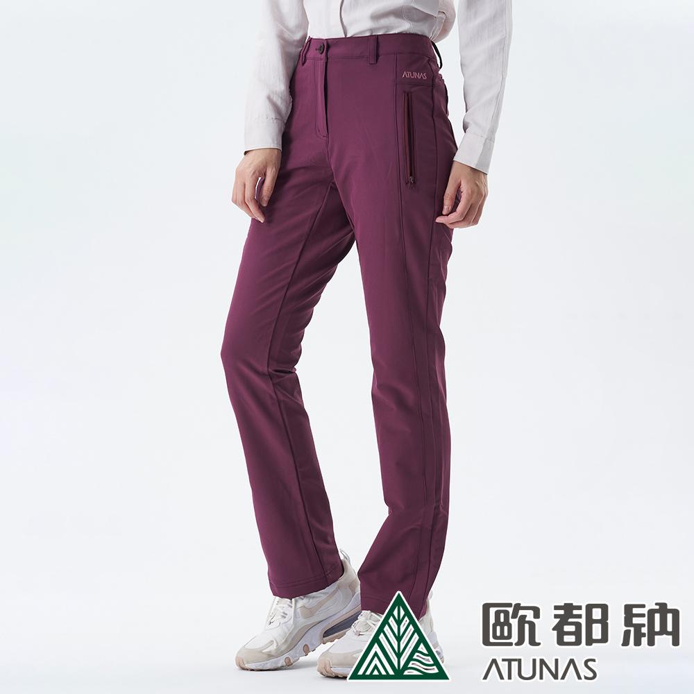 【ATUNAS 歐都納】女款SOFTSHELL刷毛保暖長褲A1PA1907W暗紅