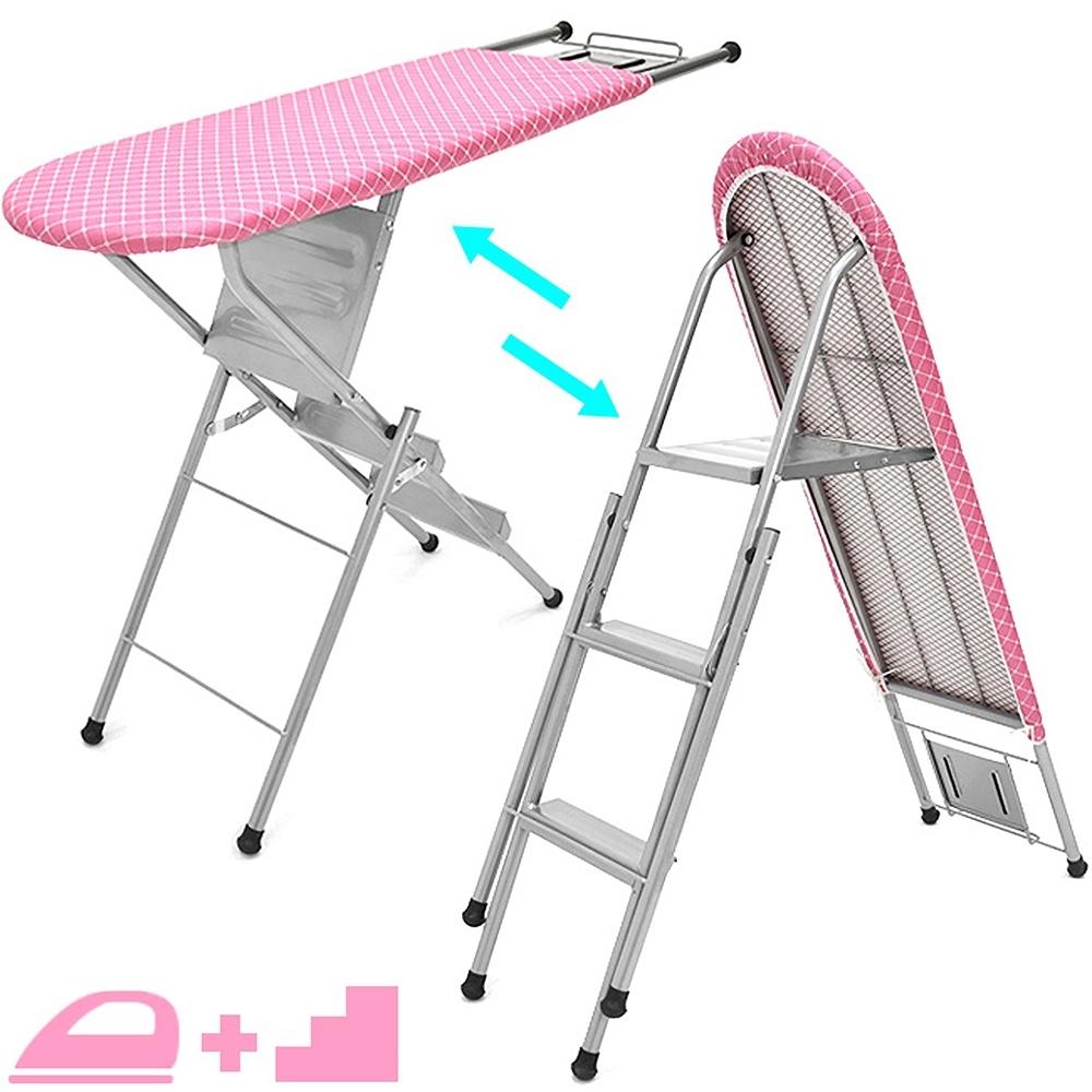 2合1折疊梯+大號燙衣板 (熨衣板站立式熨衣架燙衣架/A字梯人字梯子/馬椅梯森羅梯樓梯椅/摺疊熨燙板燙馬熨馬電熨斗板)