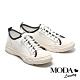 休閒鞋 MODA Luxury 自在休閒風撞色拼接綁帶厚底休閒鞋-白 product thumbnail 1