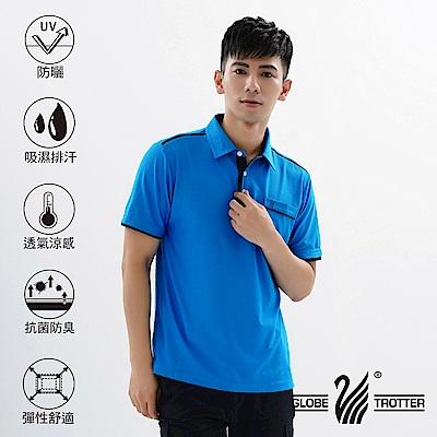 【遊遍天下】MIT男款吸濕排汗抗UV機能POLO衫GS 10033 藍色