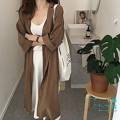 Hera 赫拉 韓版寬鬆顯瘦 純色翻領長袖套衫 束腰風衣外套
