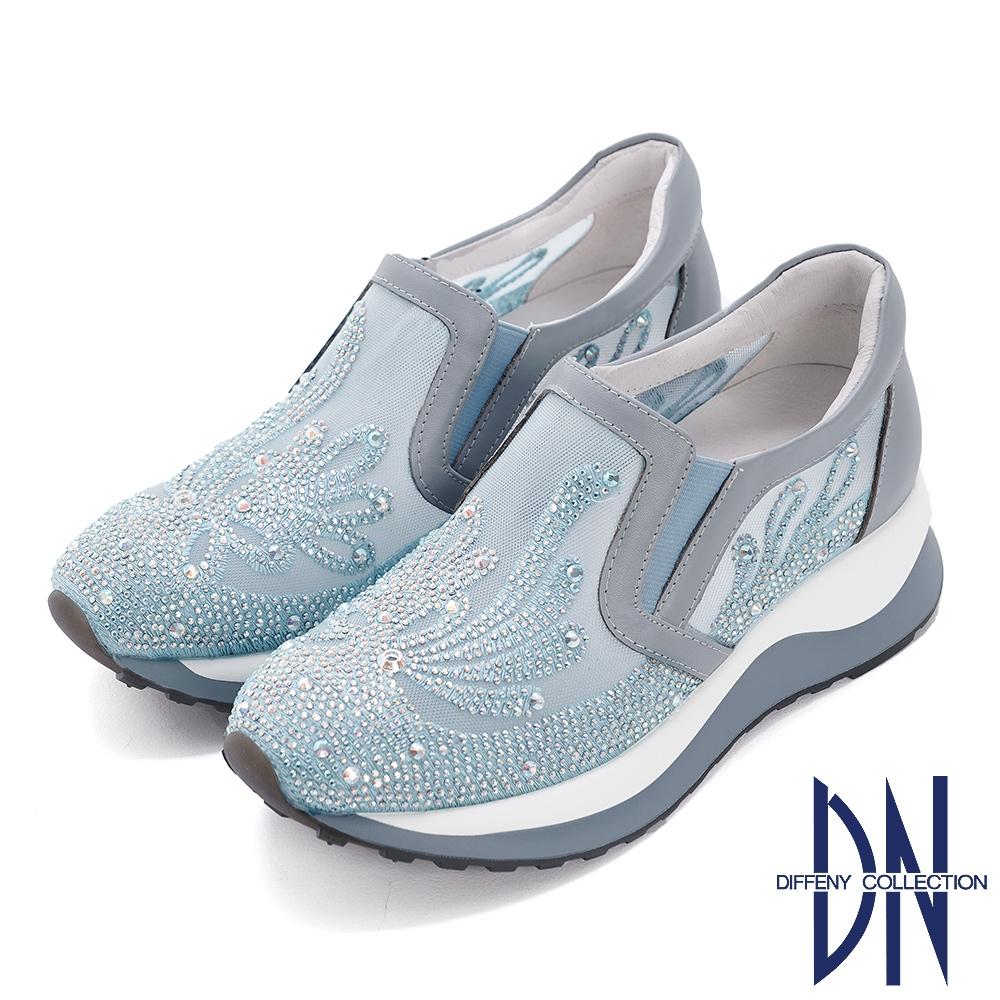 DN休閒鞋_閃耀鑽飾刺繡造型厚底休閒鞋-水藍
