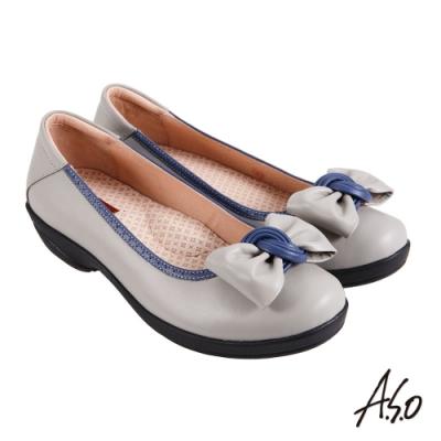 A.S.O 職場通勤 紓壓氣墊撞色蝴蝶結通勤鞋-灰