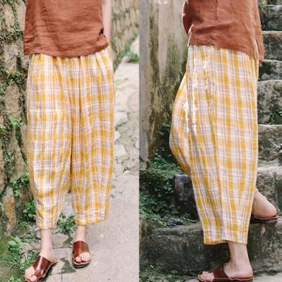休閒褲-高支細亞麻色織黃格子寬管寬鬆九分-設計所在
