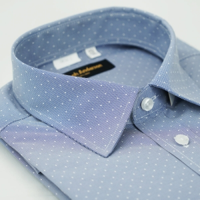 【金‧安德森】藍色白點窄版長袖襯衫