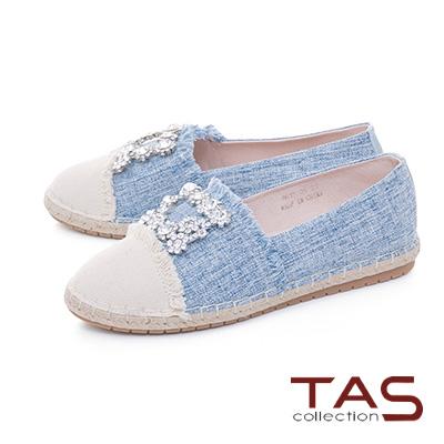 TAS方形水鑽不修邊拼接草編休閒鞋-牛仔藍
