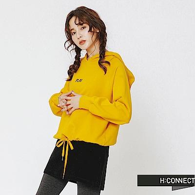 H:CONNECT 韓國品牌 女裝-縮口綁結文字帽T-黃