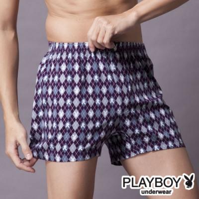 PLAYBOY MIT製LOGO印花精梳棉四角褲-單件(紫菱兔)