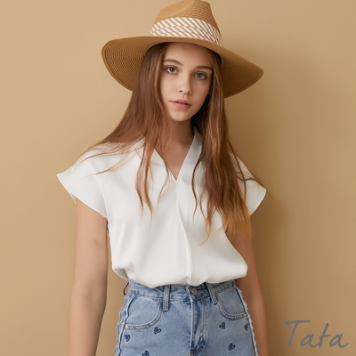 V領抓摺緞面上衣 共二色 TATA-(S~L)