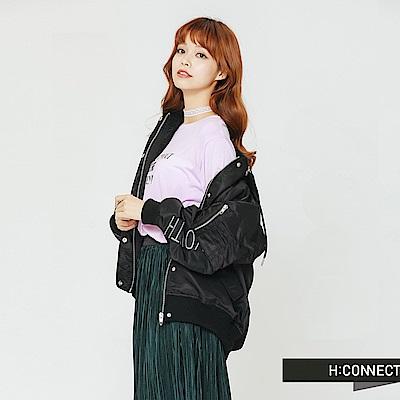 H:CONNECT 韓國品牌 女裝-電繡文字連帽飛行外套-黑