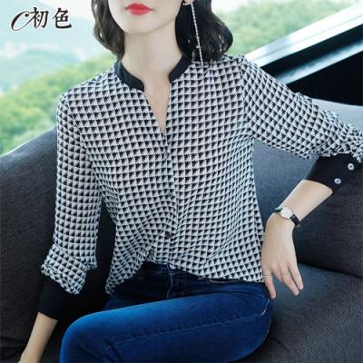 初色  印花立領雪紡襯衫-共2色-(M-2XL可選)