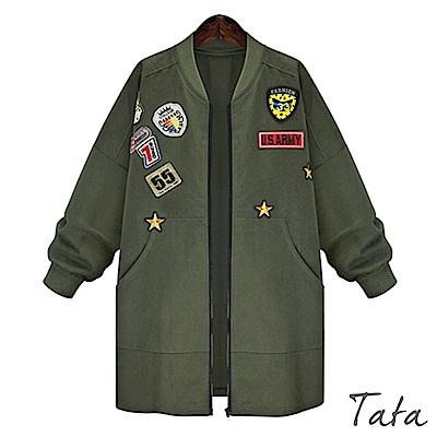 徽章拼貼軍裝風衣外套 共二色 TATA