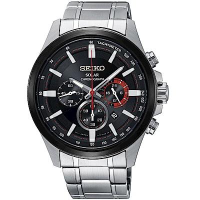 SEIKO精工Criteria太陽能計時腕錶(SSC677P1)-黑