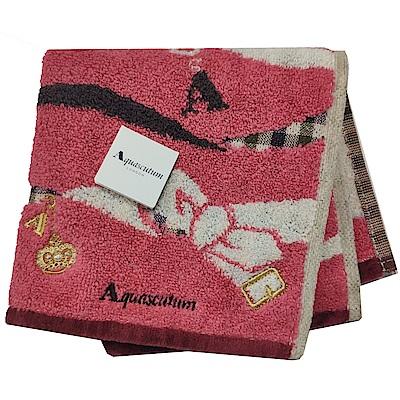Aquascutum 經典品牌格紋蝴蝶結圖騰字母LOGO刺繡小方巾(梅紅色系)