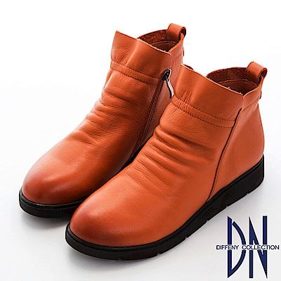 DN 率性質感 擦色牛皮抓皺厚底短靴-棕