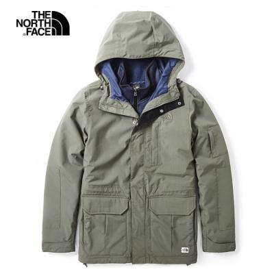 The North Face北面男款綠色防水保暖戶外三合一外套 3VU921L
