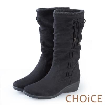 CHOiCE 暖暖時尚 2WAY抓皺絨布百搭中筒靴-黑色